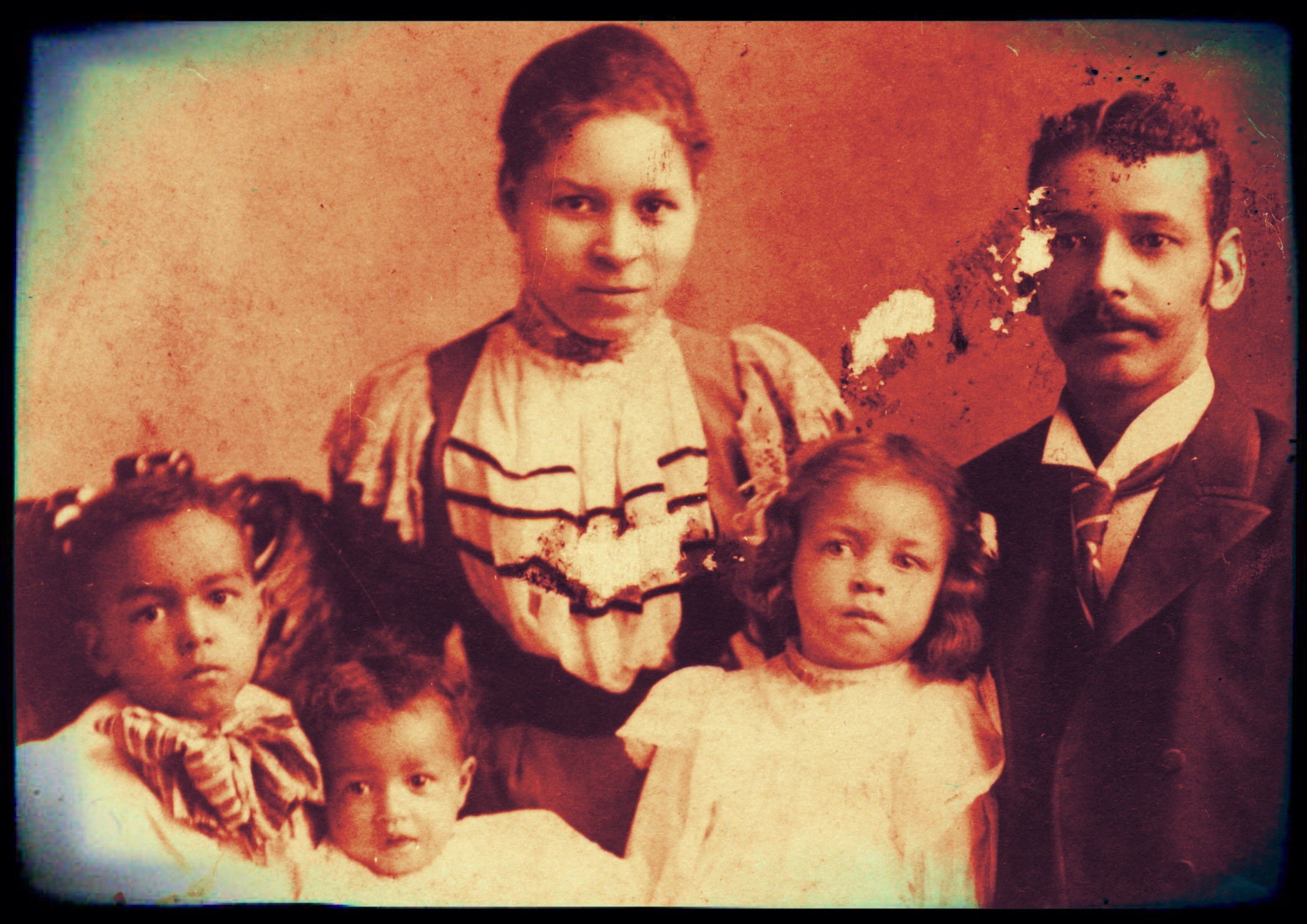 Martha and William Twiggs with three of their children c1900